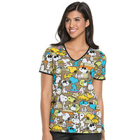 Tooniforms by Cherokee Women's Cut V-Neck Snoopy Print Scrub Top