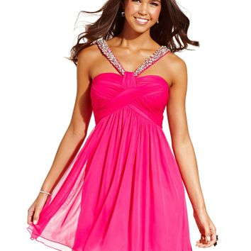 City Studios Juniors Dress, Sleeveless Rhinestone Empire-Waist - Juniors Homecoming Dresses - Macy's
