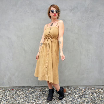 Vintage Corduroy Button Up Strappy Dress, Waist Tie Midi