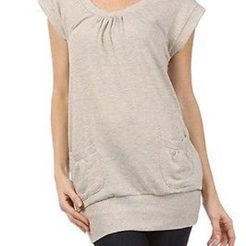 Stylish Scoop Neck Cap Sleeve Ruched Front Solid Tunic Long Sweater Top Pocket