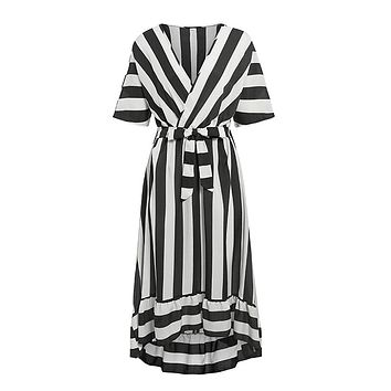 Last To Arrive Black White Stripe Pattern Short Sleeve Cross Wrap V Neck Tie Belt Ruffle High Low Maxi Dress
