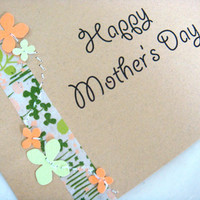 Peach and Green Mother's Day Card FREE shippinh by CraftColorfully