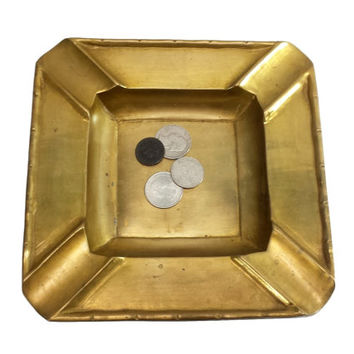 Brass Cigar Ashtray 7 inch Square Mid Century Bar Man Cave Decor Large Heavy Solid Vintage Ash Catchall Change Coin Tray Trinket Dish