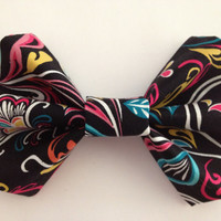 Black Fabric Hair Bow with Brightly Colored Floral Design