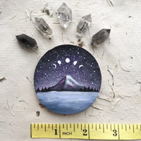 Small Mountain and Moon Phases // Painting on wood