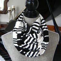 Black and White Striped Infinity Scarf - Black and White Striped Circle Scarf - Black and White Double Knit Scarf