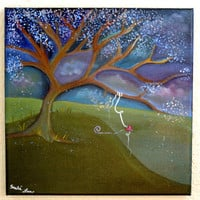 12 X 12 -Whimsical Art-Whimsy Tree-Whimsy-Gifts for Her-Heart-Fantasy Landscape