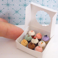 Miniature Dollhouse Assorted Cupcakes in a Box