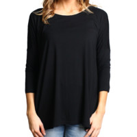 Black Piko 3/4 Sleeve Top