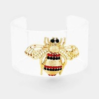 Honey Bee Accented Clear Lucite Cuff Bracelet