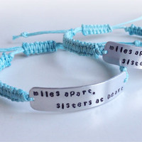 Hand stamped personlised friendship, medical ID cord bracelet