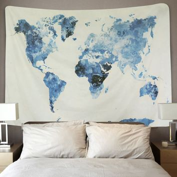 BLEUM CADE Blue Watercolor World Map Tapestry Abstract Splatter Painting Tapestry Wall Hanging Art for Living Room Bedroom Dorm