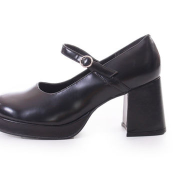 90s Vintage Black Patent Leather Mary Janes Steve Madden Chunky Platform Lolita Goth Womens Size US 9 UK 7  EUR 39