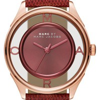 Women's MARC BY MARC JACOBS 'Tether' Skeleton Leather Strap Watch, 25mm - Burgundy/ Gold