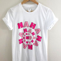 Pink HAHAHA No. Graphic Unisex Tee
