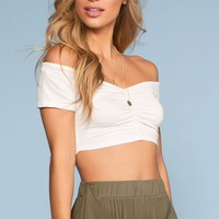 Salty Kisses Off The Shoulder Crop Top - White