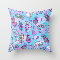 Pineapple Mix Throw Pillow by Ornaart