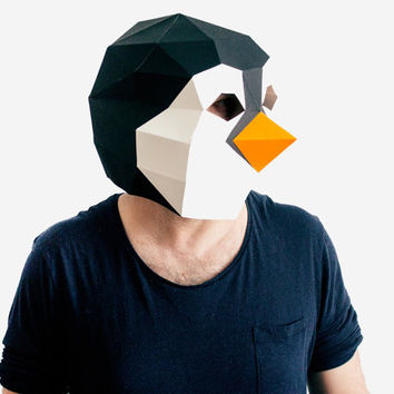 Make your own Penguin Mask, Animal Mask, Printable Mask for New Year, Instant Pdf download, DIY Halloween Paper Mask, 3D , Polygon Masks
