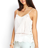 LOVE 21 Pintuck Pleated Cami Cream