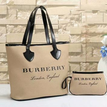 Burberry Trending Women Shopping Leather Tote Handbag Shoulder Bag  And Wallet Two Piece Apricot I-WMXB-PFSH