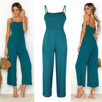 Womens Fashion Slim Sleeveless Jumpsuits Suspender Ladies Casual Solid Sling Jumpsuit Women Ladies Clothing