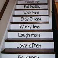 Be Happy Love Often Stairs Decor Decal Sticker Wall Vinyl Art