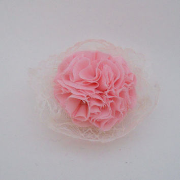 Light Pink Fabric Carnation Brooch and Hair Clip with Vintage Lace Baby Shower Corsage It's A Girl