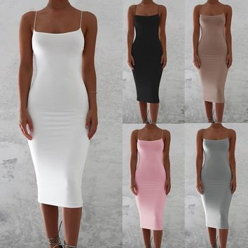 5 Color 2018 Summer Women Sexy Solid Color Sleeveless Spaghetti Strap Dresses Slim Pacckage Hip Dress Casual Fitness Bodycon Pa