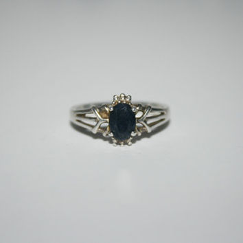 Size 7 Heirloom Diamond Cut sapphire Vintage Sterling Silver Band Ring Size 7 - free ship US