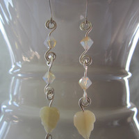 Ivory - Glass Leaf/Swarovski Crystal Earrings