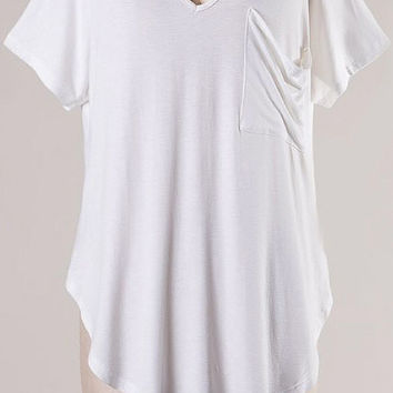 Draped Pocket V Neck T Shirt