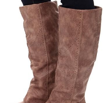 Taupe Overlay Tall Button Boot