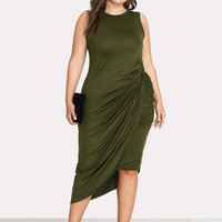 Plus Asymmetrical Hem Twist Side Dress