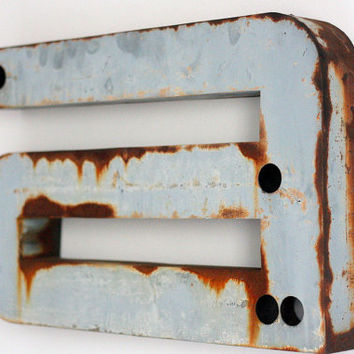 """Large Industrial Metal Letter """"a"""" / Reclaimed Socialist Signage Advertising / Salvaged Gray Volumetric Letter / Romania - 60s"""
