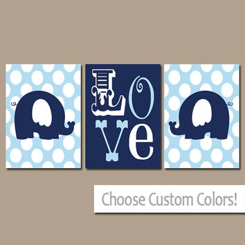 Elephant Wall Art Nursery Canvas Artwork Navy Blue Boy Girl Child Twins LOVE Polka Dots Custom Colors Set of 3 Prints Three