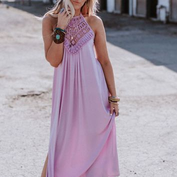 Cecily High Neck Maxi Dress - Lilac