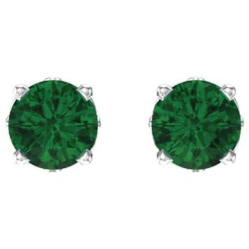Ben Garelick Round Cut Emerald Stud Earrings