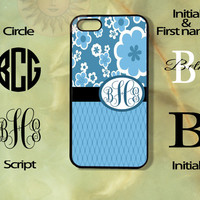 Monogram Blue Flowers Patten -iPhone 5, 5s, 5c, 4s, 4 case, Ipod touch 5, Samsung GS3, GS4 case-Silicone Rubber or Hard Plas