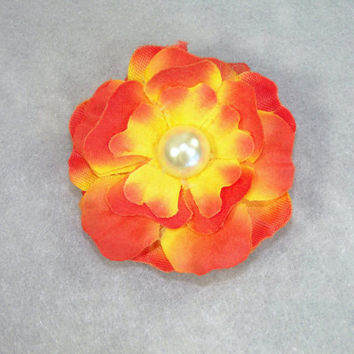 """Orange and Yellow Flower Brooch Pin 2"""" Silk With Pearl Center Shabby Chic Boutonniere Lapel Pin Brides Maid Bridal Flower Girl"""