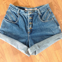 Vintage High Waisted Denim Shorts 28-30""