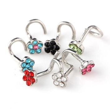 ESBHY3 30PCS Nose Ring Fashion Flower Body Jewelry Nose Stud Stainless Surgical Steel Nose Piercing Mix Color Crystal Stud