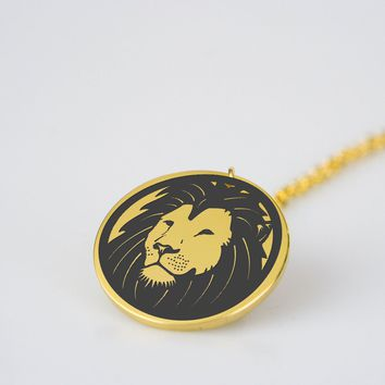Lion head round design stainless steel pendant necklace