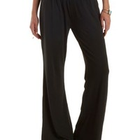 Black Smocked-Waist Palazzo Pants by Charlotte Russe