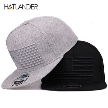 Trendy Winter Jacket  HATLANDER  Raised flag embroidery cool flat bill  baseball cap mens gorras 4fca8f5eeec