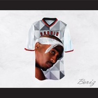 Tupac Shakur Makaveli 6 Runnin Gray Geometric Football Jersey