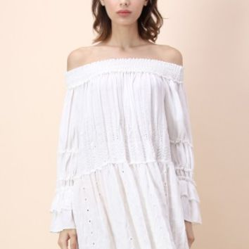 Supple Feeling Off-shoulder White Dress - Retro, Indie and Unique Fashion