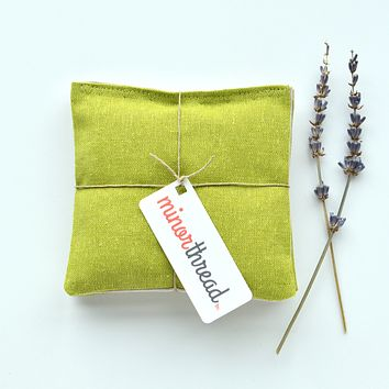 Organic Lavender Sachets in Pickle Green Linen - Set of 2