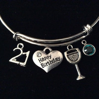 Happy 21st Birthday Wine Glass Birthstone Expandable Silver Charm Bracelet Adjustable Bangle Trendy 21 Gift