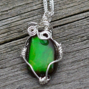 Ammolite Stone Pendant on a Sterling Silver Chain ~ Green Iridescent Stone ~ Sterling Silver Hand Wired Necklace ~ Alberta Canada Gemstone