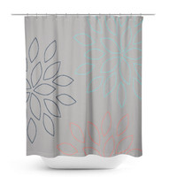 Floral Shower Curtain, Bathroom Decor, Bath Curtain, Grey Coral Navy Aqua